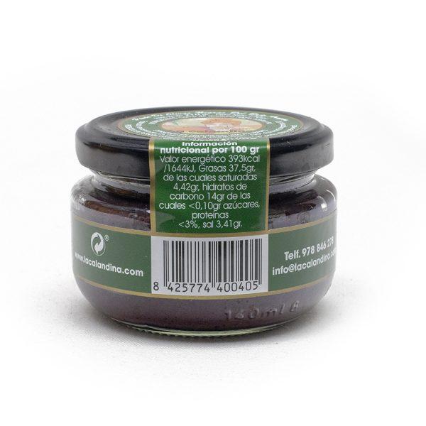 Paté de aceituna negra de aragón de la variedad empeltre
