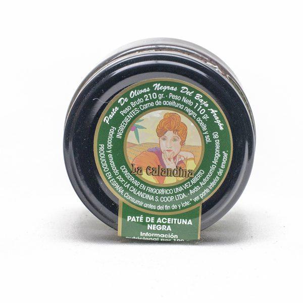 Pate de aceituna negra de Aragón de la variedad empeltre